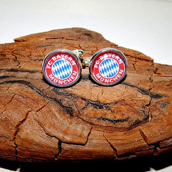 Bayern Munich Football logo cufflinks, FC Bayern cuff links, Bayern Munich jewelry, Football team, Bayern Munich emblem patch cufflinks