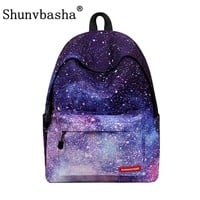 Women backpack for teenage girls school backpack bag Stars Universe Space Printing Canvas Female Backpacks for college students