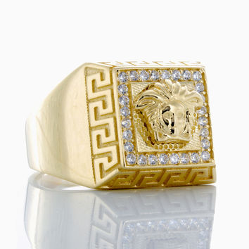 10K Yellow Gold Pyramid Style Versace Ring with CZ