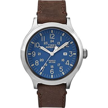 Timex Expedition® Scout 43 Watch - Blue Dial/Brown Leather