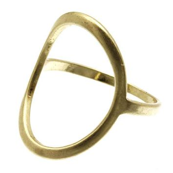 Gold Oval Cutout Metal Ring