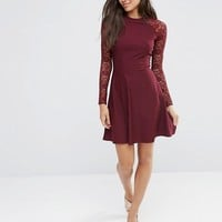 ASOS Skater Dress with Lace Sleeves at asos.com