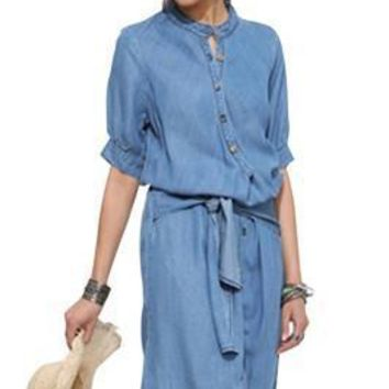 Casual Demin Half Sleeves Jeans Wrap Dress