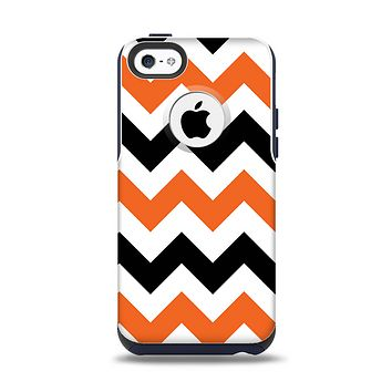 The Orange & Black Chevron Pattern Apple iPhone 5c Otterbox Commuter Case Skin Set