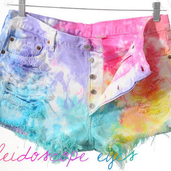 Levis 501 Rainbow Colorful Dyed TIE DYE Denim High Waist Cut off Shorts XXL