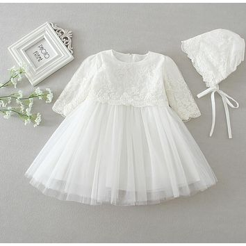 2PCs/Sets Beige Off White Baby Girl Baptism Christening Easter Gown Dress Lace Flower Girl Party Dress 0-24Months