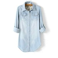 New Women's Long Style Pocket Accent Light Blue Denim Long Sleeves Blouse Shirt