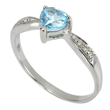 Diamond Heart Ring .925 Silver .5ct Blue Topaz Center Stone