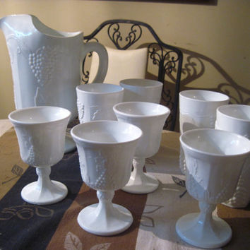Vintage Milkglass Pitcher with 8 Glasses - 4 Goblets, 4 Tumblers. Beautiful!