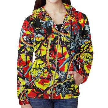 Country Boy Design 1 Women's All Over Print Full Zip Hoodie
