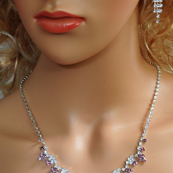 Wedding Prom Pageant Lilac and White Crystal Necklace and Earring Set N1Z4