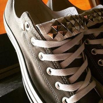 DCKL9 Custom Studded Gray Converse All Stars - Chuck Taylors - ALL SIZES & COLORS!