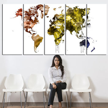 Watercolor World Map Canvas art, Large wall Art, modern wall art, World Map canvas print 5 panels, large map canvas art, extra large art