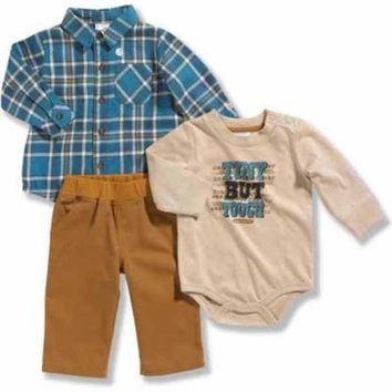 Carhartt® Infant Boys' 3 Piece Flannel & Fleece Gift Set