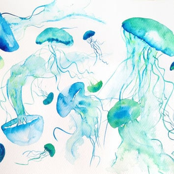 Watercolor Jellyfish - Medusas Art Print by Claudia Orengo | Society6