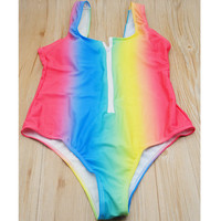 Hot New Womens Sexy Swimsuit One Pieces Front Zipper swimwear body suit Rainbow printing SPA Bathing suit
