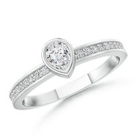 Pear Diamond and Round Diamond Accent Ring | Angara.com