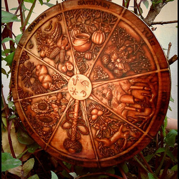 Celtic Wheel of the year - handcrafted - various size - wicca pagan fest calendar picture