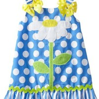 Youngland Baby Girls' Daisy A Line Dress, Blue/White, 12 Months