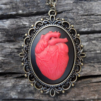 Heart  Cameo Necklace, anatomy heart blood necklace