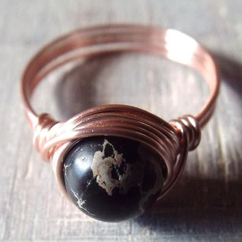 Imperial Jasper Ring, Sea Sediment Ring, Black Jasper Ring, Black Stone Ring, Rose Gold Ring, Gothic Ring, Unique Ring, Wire Wrapped Ring