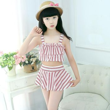 2018 Princess Striped Girls Swimsuits Two Pieces Swim Wear Kids Bathing Suits Cute Beach Skirt 9-12Years Children Girls Swimwear
