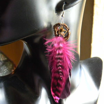 Pixi Pink Dream Catcher Earrings in The Native Inspired Tribal Boho Hippie Hipster Style