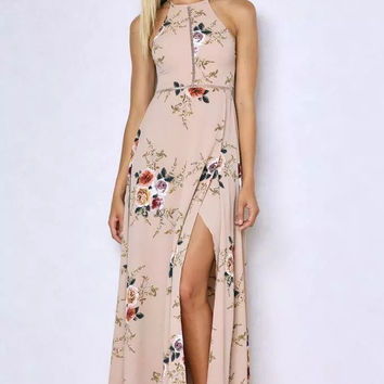 Halter Floral Backless Maxi Dress - Blush