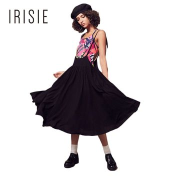 IRISIE Apparel Sexy Sleeveless Lace Up Strap Dress Women Clothing Casual Preppy Summer Dress Elegant Cute Female Overall Dress