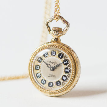 Vintage watch pendant Magnific, necklace gold plated, women's watch round flowers ornamented, boho style watch pendant shockproof
