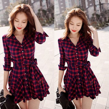 Lapel Plaid V-neck Long Sleeves with Belt Short Dress