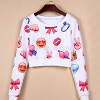 women crop long sleeve tops pullover winter women Emoji sweater funny expression printed sweatshirt hoody cute cartoon tracksuit  LJ190LMX = 1919920196