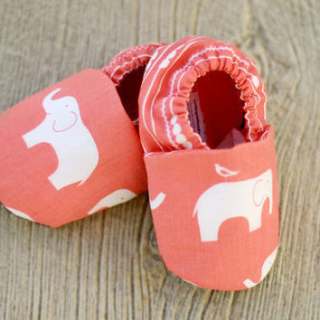 6-12 month Coral Pink Elephant Organic Handmade Baby Shoes - Ready To Ship - Eco Friendly Children's Clothing Booties