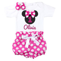 Minnie Mouse Birthday Outfit | Personalized Minnie Mouse High Waisted Bloomers