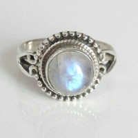Rainbow Moonstone ring, moonstone silver ring,solid silver ring, stone ring, 92.5 sterling silver, moonstone Silver Ring, Size 3 To 14(US)