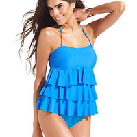 Island Escape Tiered-Ruffle Tankini Top & Solid Brief Bottom