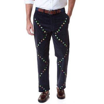 Beachcomber Corduroy Pant in Navy with Embroidered Christmas Lights by Castaway Clothing