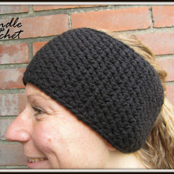 Black Crochet Headband Warm Earwarmer Accessory for Fall Winter Christmas Gift Present Acrylic Yarn Wide Plain Simple