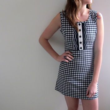 Vintage Checkered Dress Checkers Black White Mini Short Knee Length Madmen Polka Dot Stripes Sleeveless Office