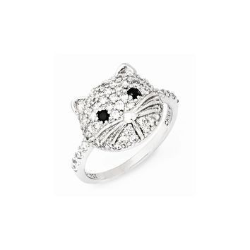 Sterling Silver White & Black CZ Cat Ring