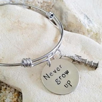 Bangle - Hand Stamped - Disney - Peter Pan - Never Grow Up - Big Ben - Bracelet - Stainless Steel