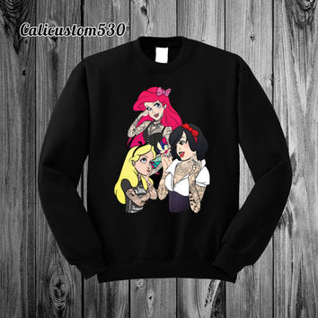 Princesses Gone Bad on Black Crewneck Sweatshirt