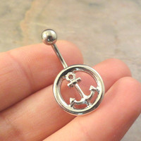 Silver Anchor Belly Button Jewelry Ring