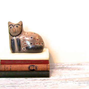 Vintage Tonala Ceramic Mexican Folk Art Cat | Rustic Folk Art | Bohemian | Bookend | Home Decor