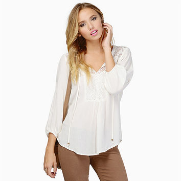Lace Embroidered Top Drawstring Neckline V-Neck Long Sleeve Blouse