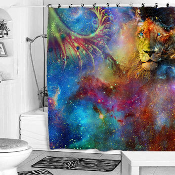 lion galaxy shower curtain