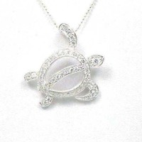 STERLING SILVER 925 HAWAIIAN CZ HONU TURTLE SLIDE PENDANT HEAVY LARGE 30MM