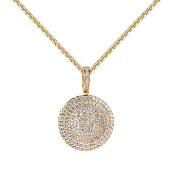 "Iced Out Medallion Design Pendant Simulated Diamonds 14k Yellow Gold Tone 24"" Chain"