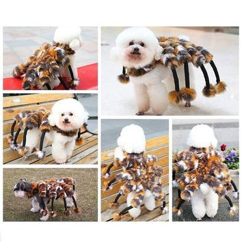 DCCKH6B Petalk Winter Novelty Spider Cat Dog Costumes Halloween  Pet Dog Suits For Teddy Chihuahua Yorksire S M L