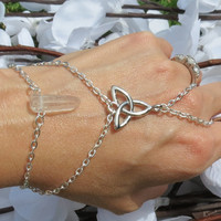 Crystal Celtic Slave Bracelet, Ring Bracelet, Celtic Knot, Irish Pride, Infinity Knot, Trinity, Quartz Crystal, Hand Jewelry, Hand Chain